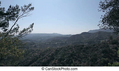 Beautiful mountain view. Hollywood sign on mountain in distance in Hollywood, California.