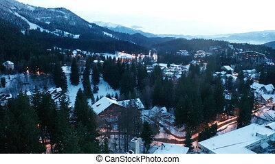 Beautiful mountain village in winter