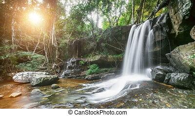 Beautiful mountain waterfall in Thailand