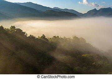 Beautiful Mountain with cloud and mist at sunshine