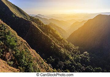 Beautiful mountain with sunlight at sunset.