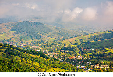 beautiful mountainous countryside. village in the valley....