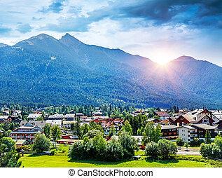 Beautiful view on little mountainous village, Seefeld in Tirol is an old farming village, major tourist resort in Innsbruck-Land District in the Austrian state, Europe