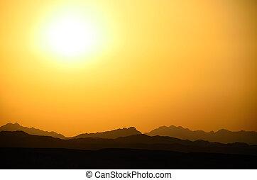 beautiful mountains at sunset