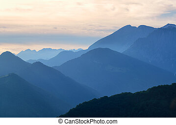 Beautiful mountains in the evening