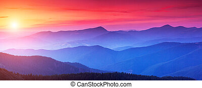 beautiful mountains landscape - Red sunset in the mountains...