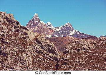 Beautiful mountains landscapes in Cordillera Blanca,  Peru, South America