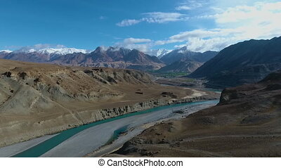 Beautiful Mountains, River, Road and Desert Terrain 2 -...