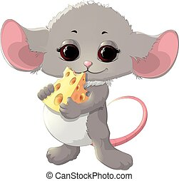 Beautiful mouse with cheese