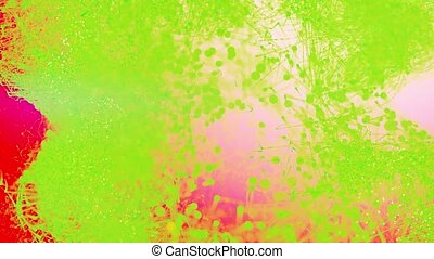 Beautiful moving particles on a colored background. 4K abstract background.