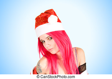 Beautiful Mrs. Santa in red hat