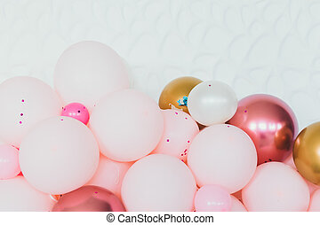 Beautiful multi-colored balloons with flowers for a party
