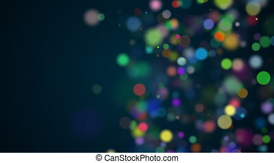 Beautiful multi-colored celebratory particles are in space, shallow depth of field, bokeh effect, abstract background, 3D render