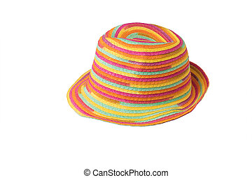 Beautiful multi-colored summer hat isolated on a white background.