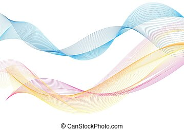 Beautiful multi-colored super vector waves of different shapes