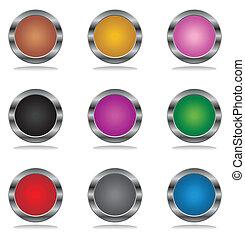 Beautiful multi-coloured the button Internet. A vector illustration