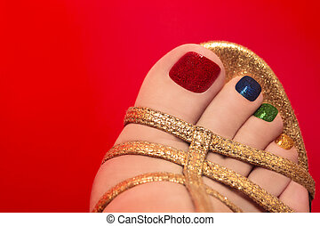 Beautiful multicolored pedicure.