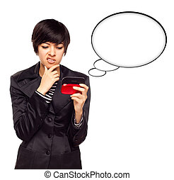 Beautiful Multiethnic Young Woman with Cell Phone and Blank Thought Bubbles Isolated on a White Background.