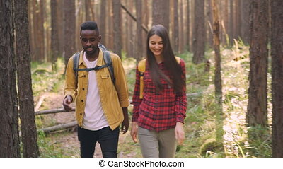 Beautiful multiracial couple African American guy and...