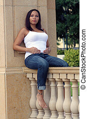 Beautiful Multiracial Woman Five Months Pregnant (5)
