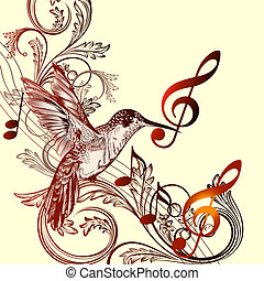 Beautiful music background with hummingbird and treble clef...