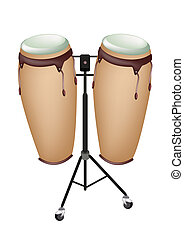 Beautiful Musical Instrument of Congas on Stand - Music...