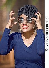 Beautiful Muslim Female And Anxiety Wearing Turban