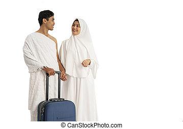 muslim pilgrims hajj and umrah couple