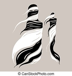 Beautiful Muslim woman. Abstract Fashion illustration.