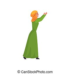 Beautiful Muslim Woman in Green Dress and Hijab, Arab Girl in Traditional Clothes Standing with Her Arms Raised Vector Illustration