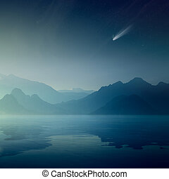 Bright comet and stars in dark blue sky, silhouettes of mountains reflected in a calm sea