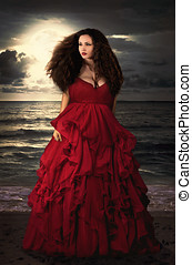 Beautiful Mysterious woman in dres - Beautiful Mysterious...