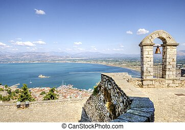 A view of the city of Nafplio in Greece from Palamidi castle. Nafplio was the first capital of Greece.