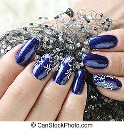 Beautiful nail art - Female hands, nails with beautiful art...