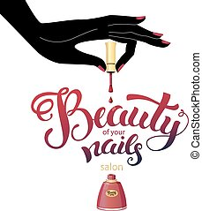 Beautiful nails illustration for Beauty salon, brochure or logo. Used modern hand drawn lettering