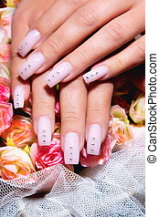 Beautiful nails with Art - Female hands, nails with...