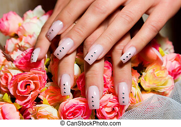 Female hands, nails with beautiful Art manicure