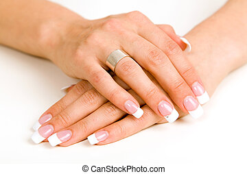 Young woman with bautiful long nails