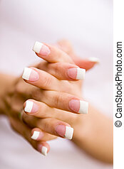 Beautiful nails - Young woman with beautiful long nails