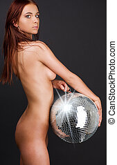 beautiful naked woman with disco ball - picture of beautiful...