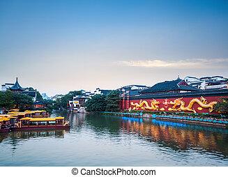 beautiful nanjing confucius temple at dusk
