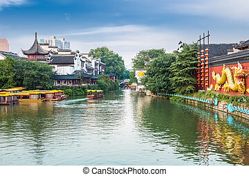 beautiful nanjing confucius temple in the afternoon