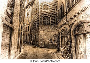 beautiful narrow street in Florence in sepia tone