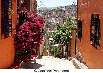 beautiful narrow street in Guanajuato, Mexico