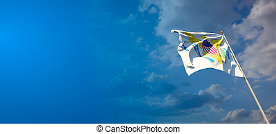 Beautiful national state flag of Virgin Islands with blank space. Virgin Islands flag on wide background with place for text 3D artwork.