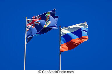 Beautiful national state flags of Russia and Cayman Islands.