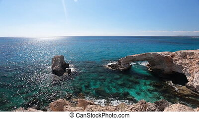Beautiful natural rock arch in Cyprus