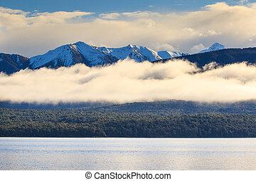 beautiful natural scenic of lake te anau fiord land national park south island new zealand