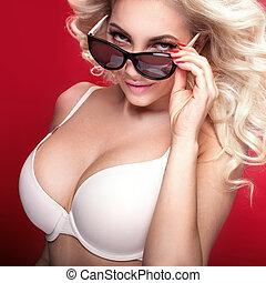 Beautiful natural woman in white lingerie. - Beautiful...