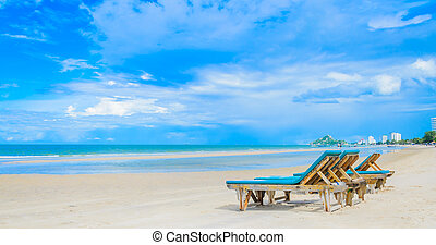 Beautiful nature - Bed on the beautiful beach on the bluesky...